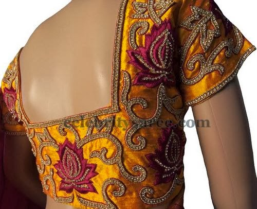 Blouse with Rose Embroidered Work