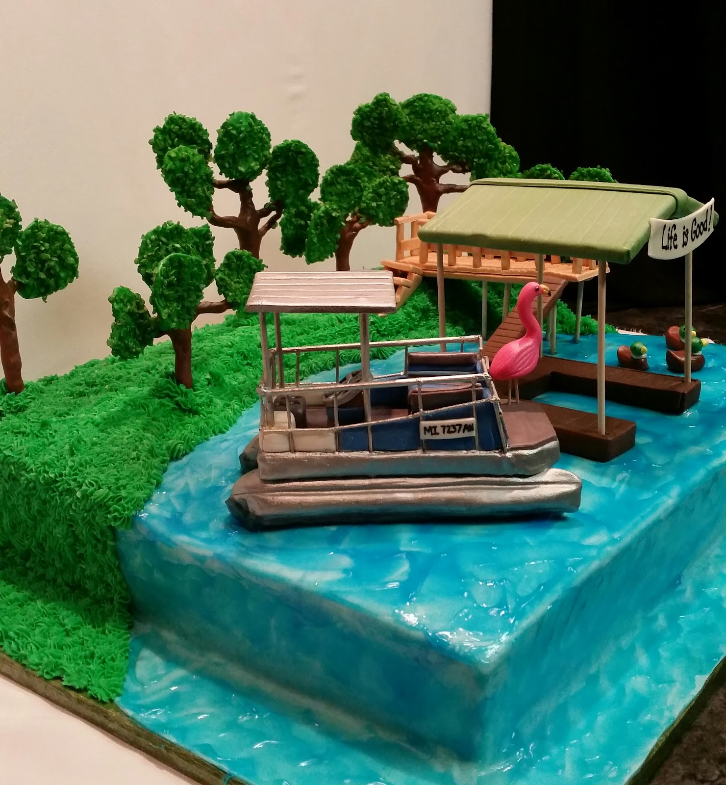 Mymonicakes Moon Lake Replica Cake With Pontoon Boat And