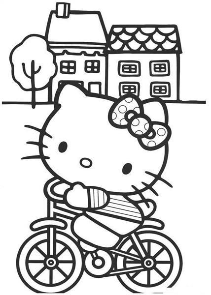 自転車の 自転車 素材 イラスト : Hello Kitty Coloring Pages