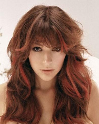 Red Long Hair Highlights 2014