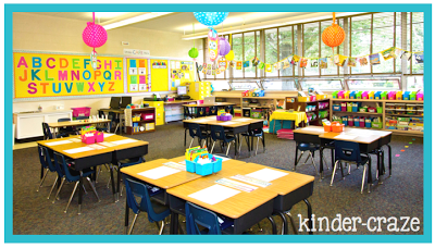 cute and brightly-colored kindergarten classroom