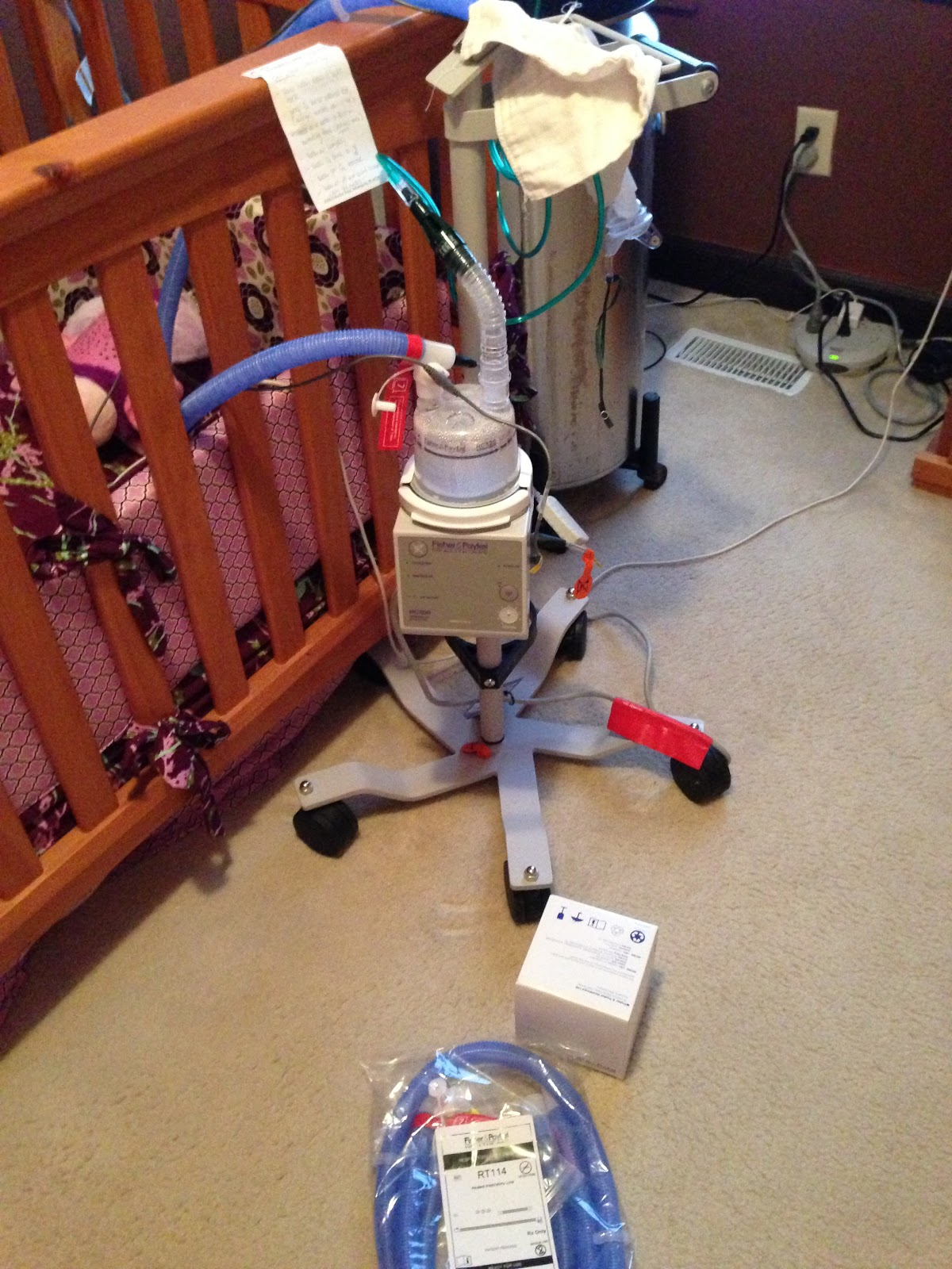 Vent stand humidity trach collar set up and other oxygen tank by  #A0572B