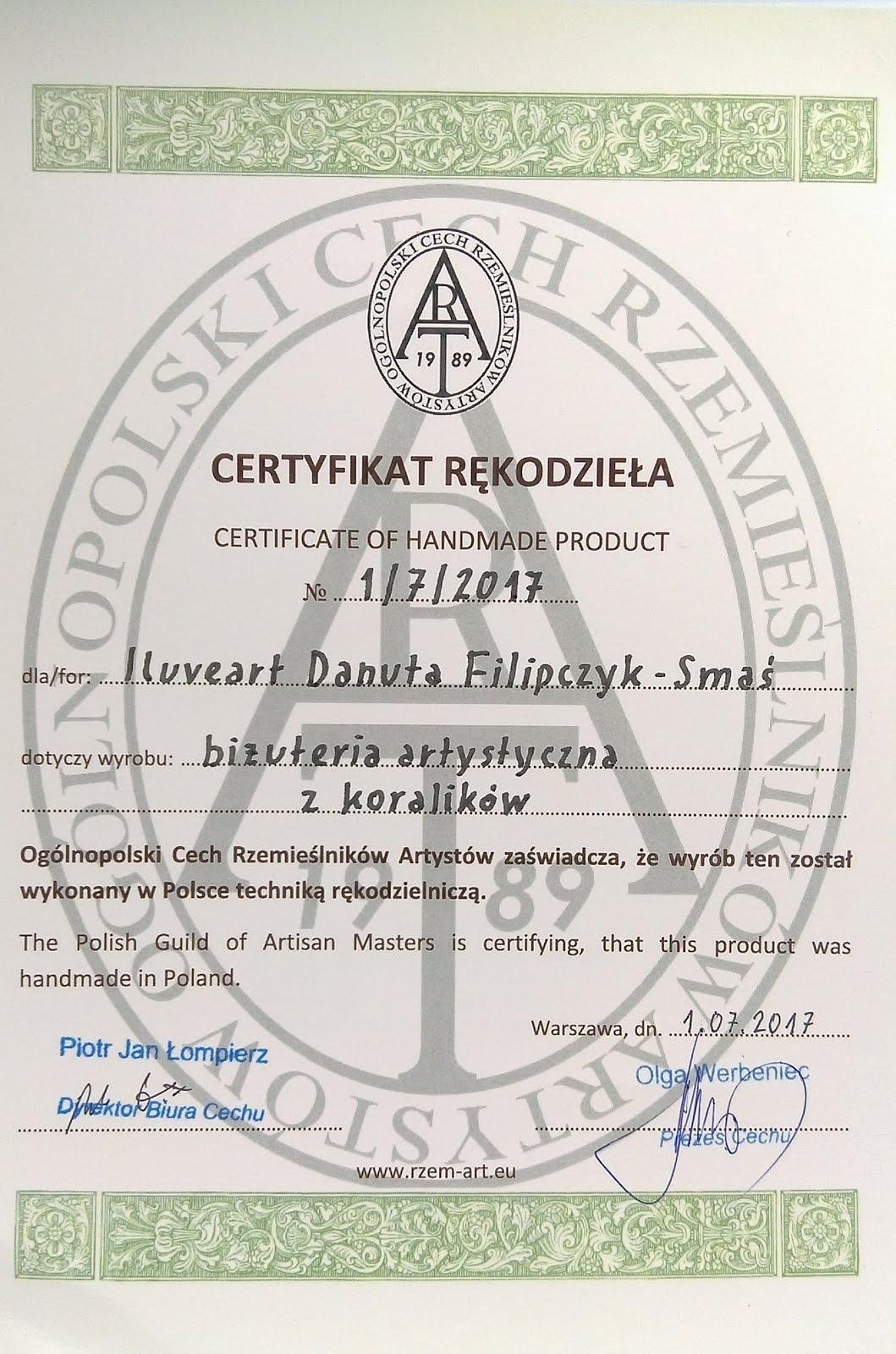 Certyfikat rękodzieła