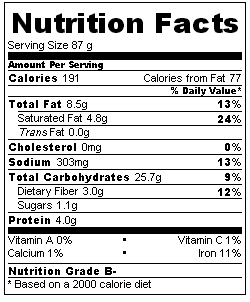 Gluten-free rolls nutrition information
