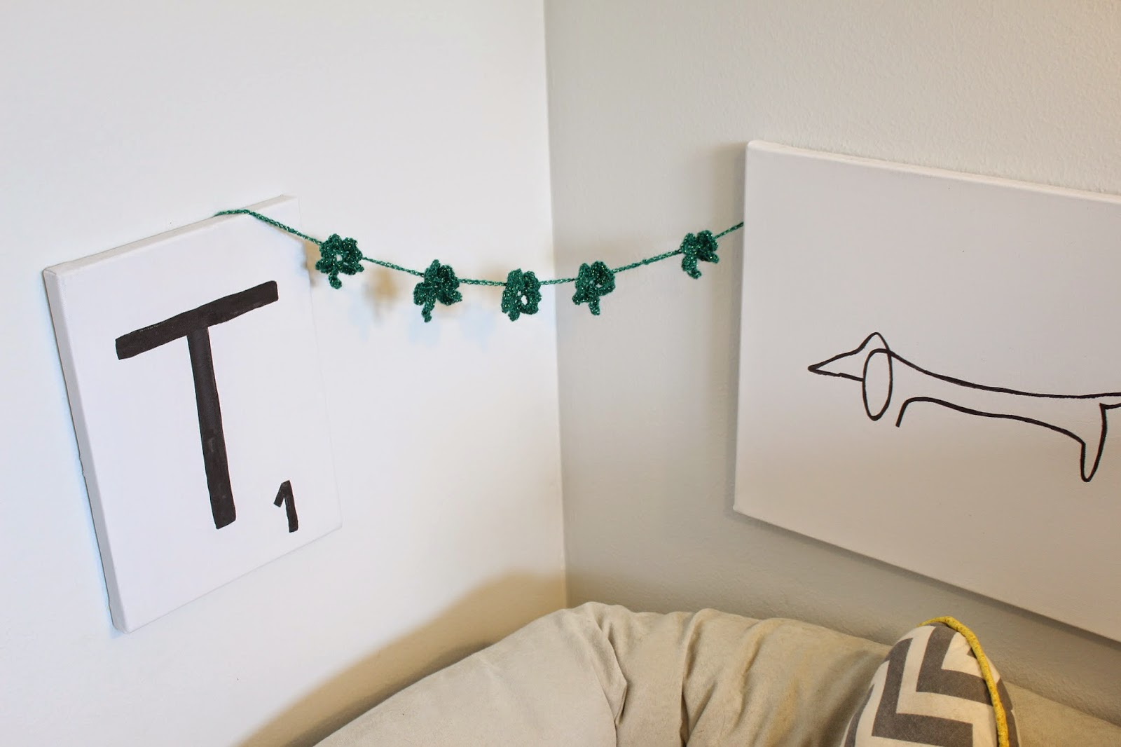 diy crochet garland, green decor