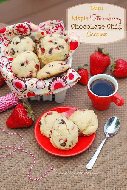 Maple Strawberry Chocolate Chip Scones by The Sweet Chick