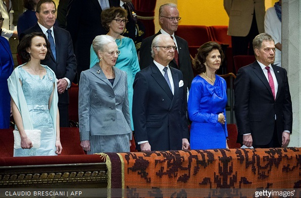 Finland's First Lady Jenni Haukio, Queen Margrethe of Denmark, King Carl Gustaf of Sweden, Queen Silvia of Sweden and President Sauli Niinisto of Finland are pictured at Stockholm Concert Hall