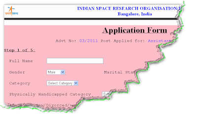 ISRO Recruitment 2012 Online Form for Assistant1