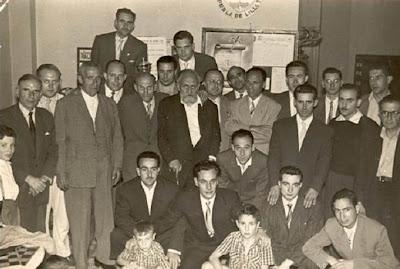 Algunos participantes en el II Torneo Nacional de Ajedrez de La Pobla de Lillet 1956