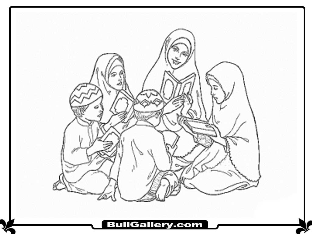 Reading Quran Kids Coloring Pages