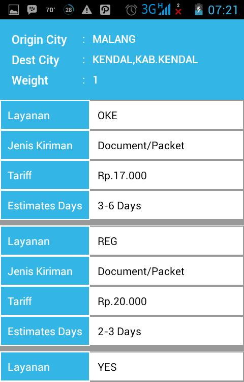 Ceek tarif kiriman barang JNE di Android