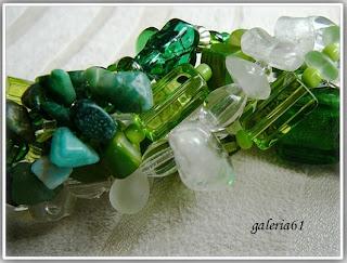 Naszyjnik zielony i przezroczysty - szkło, koraliki, porcelana, masa p