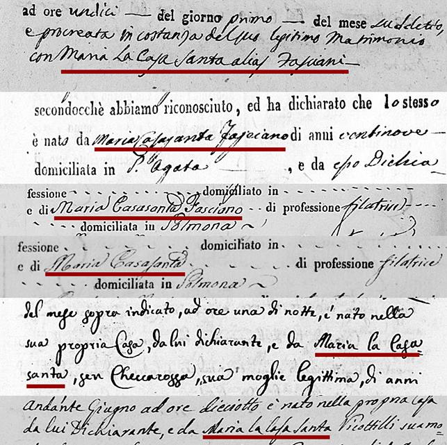 Italian Foundling Surname La Casasanta