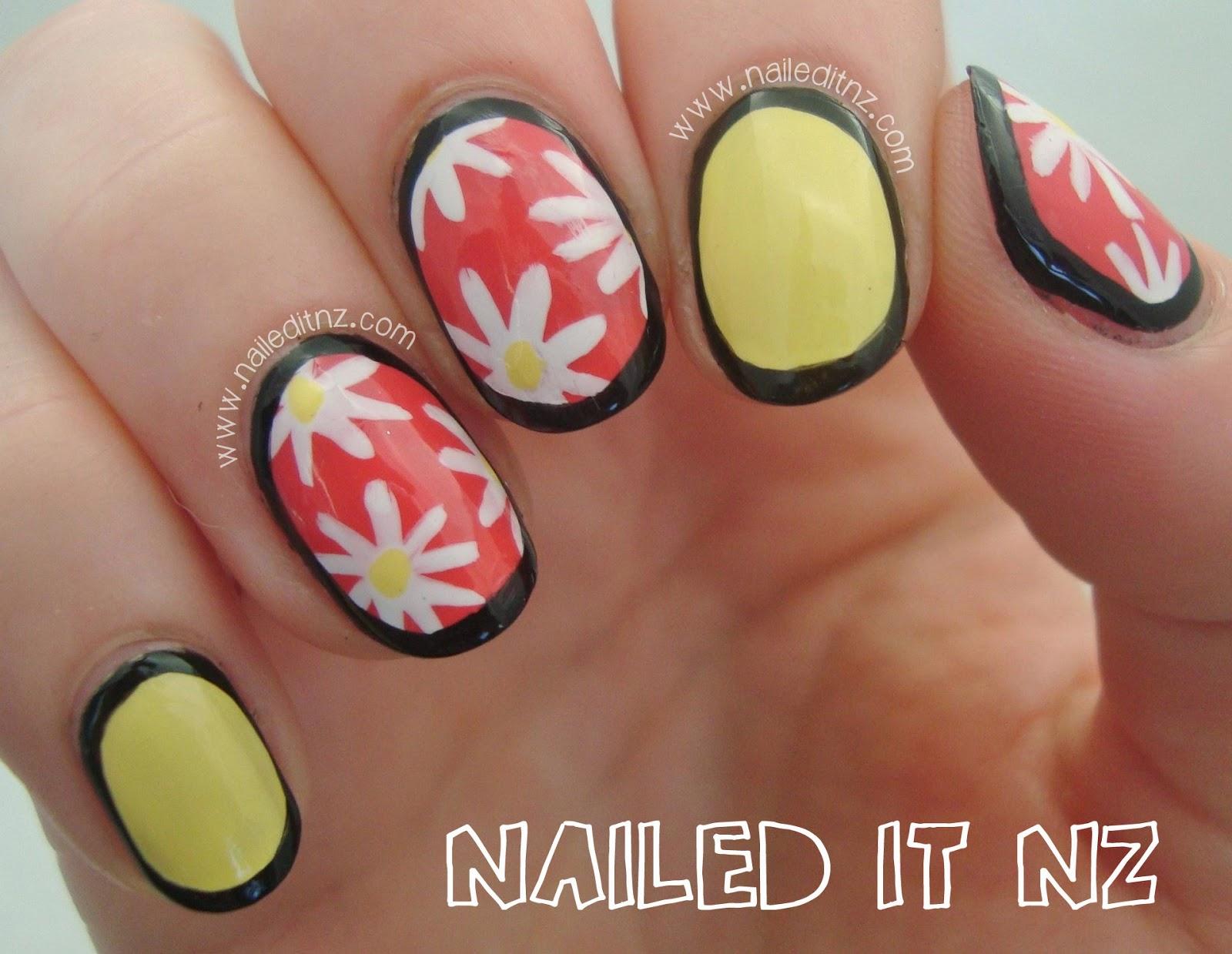 Pastel Daisy Border Nails