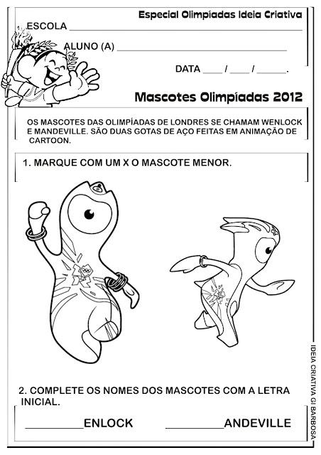 Atividade com os Mascotes das Olimpíadas de Londres 2012