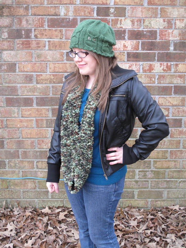 April Sprinkles: Knit owl hat and camo circular scarf