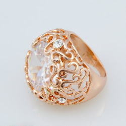 Charming Hollow Pattern Rose Gold Plating Rhinestone Rings