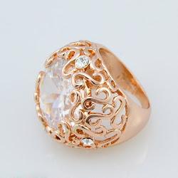 Charming Hollow Pattern Rose Gold Plating Rhinestone Rings