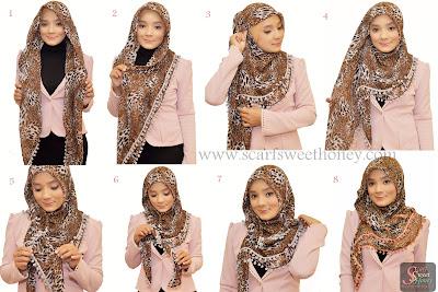 Cara Memakai Jilbab Segi Empat Beri Leopard Style