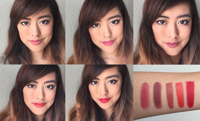 Photo of Red Apple Lipstick lip swatches in Naughty, Audrey, Ooh La La, Sunkissed, and Hollypeno.