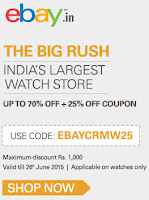 eBay : Get Additional Rs.1000 Off on Watches using coupon