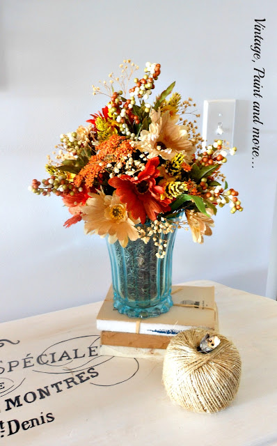 Vintage, Paint and more... mod podge painted thrift store vase with faux flowers, old books and twine pumpkin