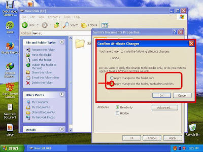 Learn how to unhide files and folders in windowsXP step11