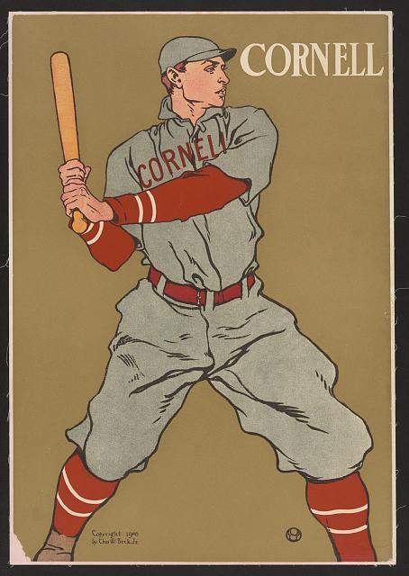 baseball, classic posters, free download, graphic design, retro prints, sports, vintage, vintage posters, Cornell University Baseball - Vintage Baseball Sports Poster