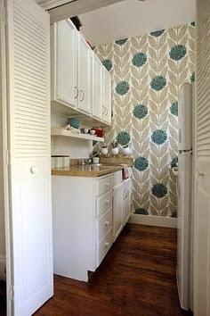 pretty modern grey and blue floral print wallpaper