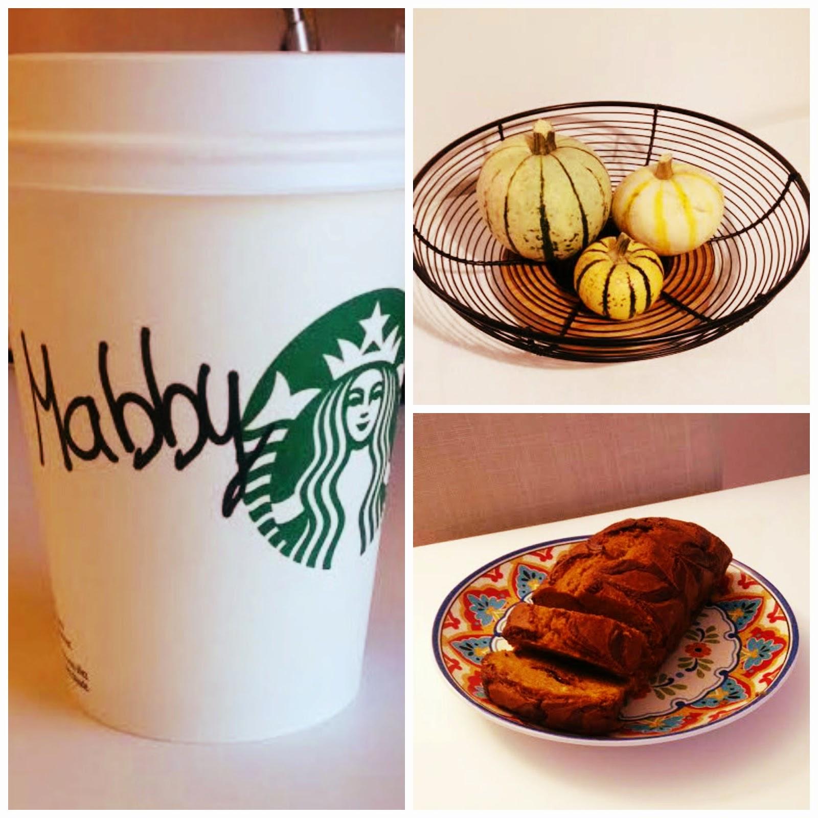 Starbucks Pumpkin Spice Latte, gourds, pumpkin bread