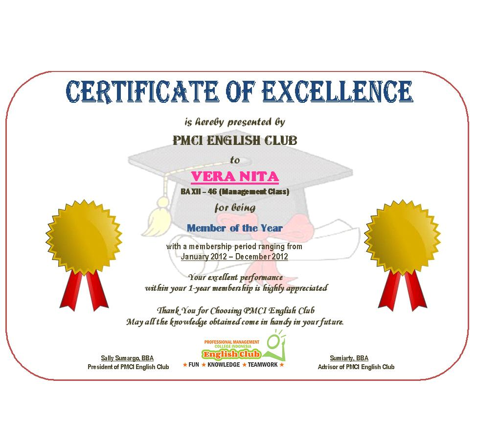 Official Certificates For Members Of PMCI English Club  Certificate Of Excellence Wording