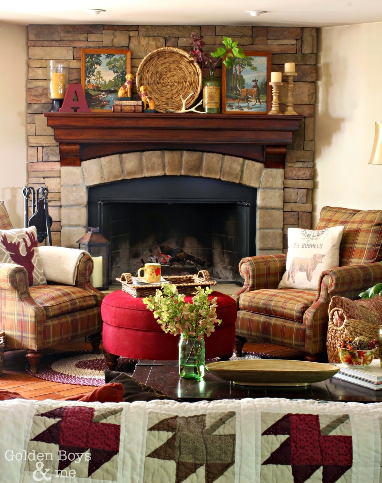 Corner Stone fireplace in family room with Bassey plaid chairs and Autumn quilt. www.goldenboysandme.com