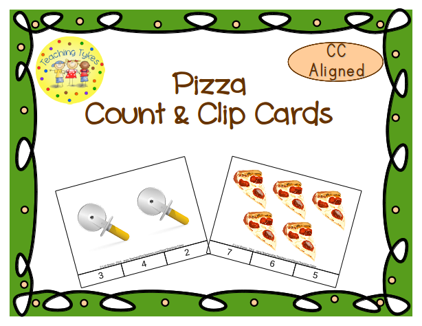 http://www.teacherspayteachers.com/Product/Pizza-Count-Clip-Cards-Common-Core-Aligned-909230