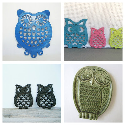 various metal owl trivets, a blue one, black ones and a green ceramic one