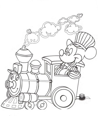 Disney Mickey Mouse On The Train Coloring Pages
