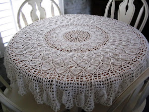 1st tablecloth made.  Finished in 2008. Pineapple Potpourri.  A free pattern on the web