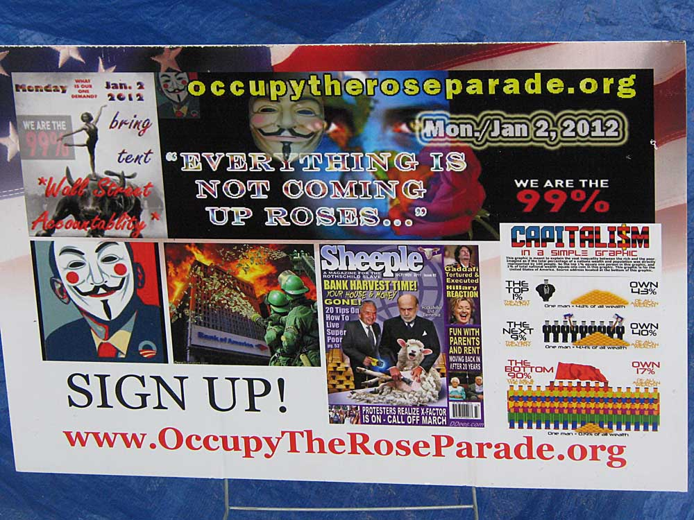 Occupy Los Angeles - sign: Occupy the Rose Parade