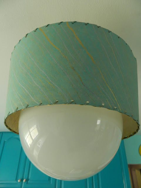 aqua gold DIY 1950s globe light fiberglass handstitched shade Just Peachy, Darling