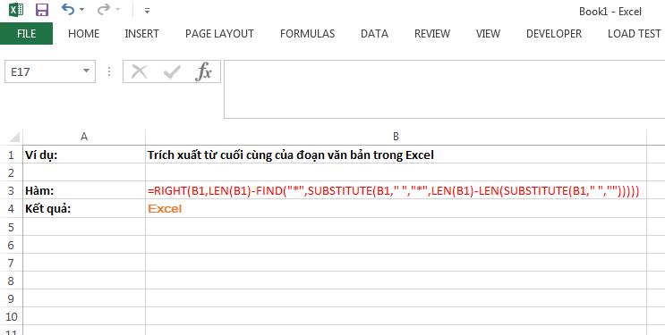 Trích xuất từ cuối cùng của đoạn văn bản trong Excel