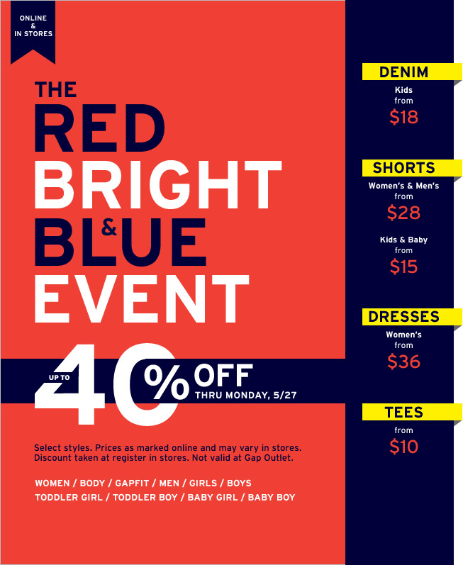 Gap Outlet Memorial Day Sale Coupon