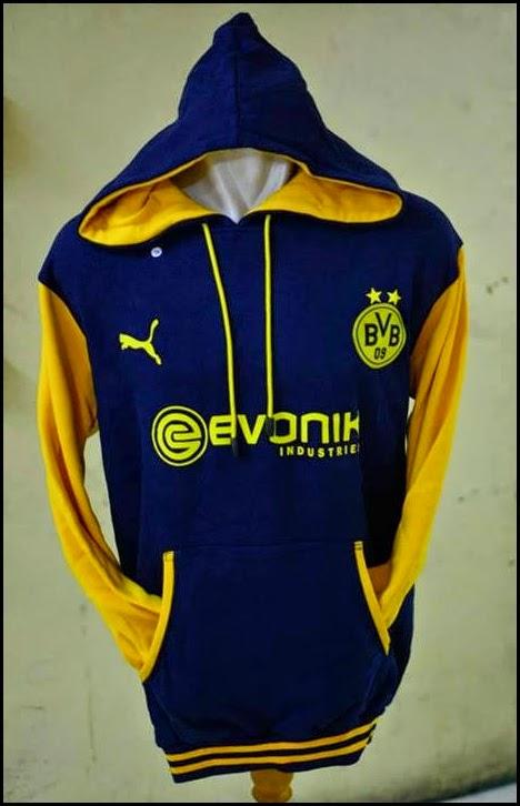 New Jumper Hoodie Bola Kombinasi 2014 - 2015 Dortmund (biru kombinasi kuning)