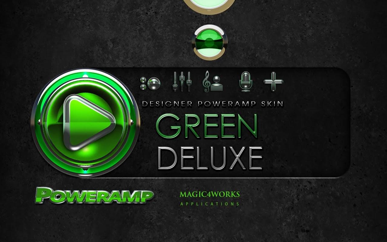 Green Deluxe HD Poweramp skin v1.40