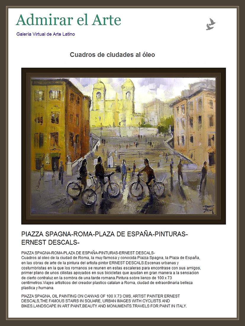 ROMA-PIAZZA SPAGNA-PINTURAS-PINTOR-ERNEST DESCALS