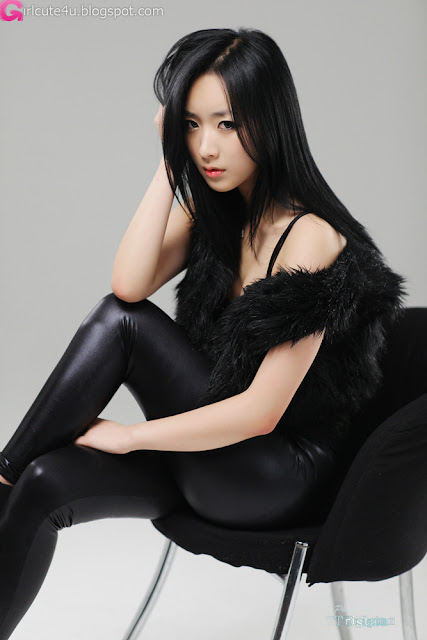 5 Sexy Minah - Black Leather Pants-very cute asian girl-girlcute4u.blogspot.com