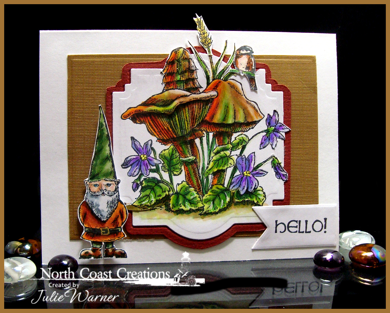 Stamps - North Coast Creations Gnome What?, ODBD Custom Pennant Dies, ODBD Stamped by Chickadee Mini