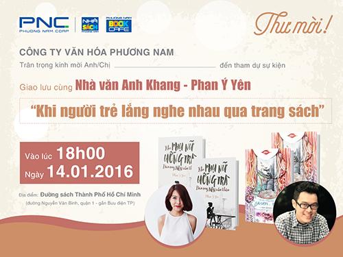 Thư mời tham dự Giao lưu cùng Nhà văn trẻ Phan Ý Yên - Anh Khang