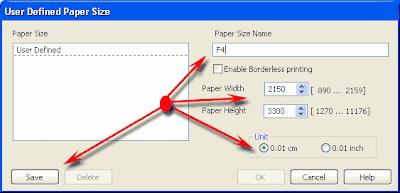 Menambah ukuran kertas