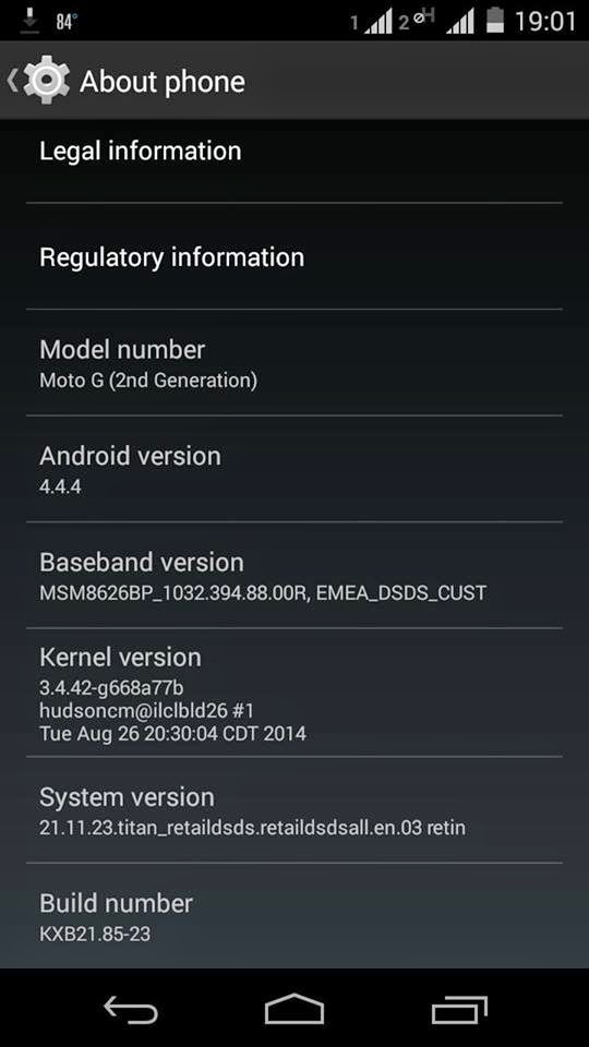Moto G second Gen Device info
