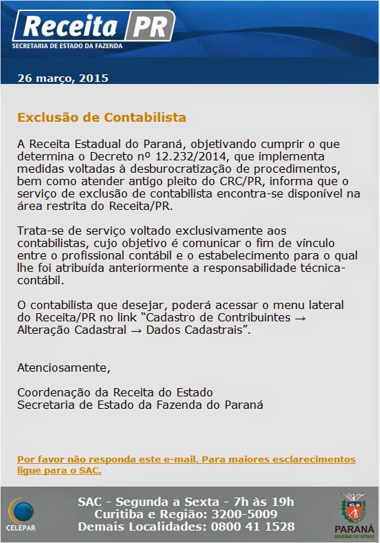 PR: Receita estadual disponibiliza aguardada exclusão de contabilista