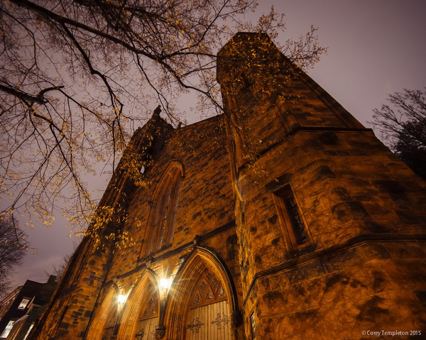 Portland, Maine USA December 2015 photo by Corey Templeton. Looking up at the front of the State Street Church on a recent rainy evening.